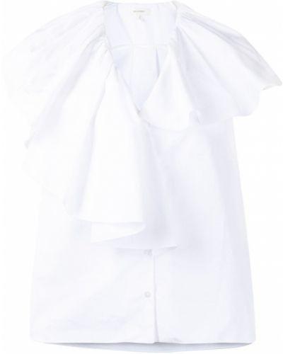 Белая хлопковая рубашка с V-образным вырезом Delpozo