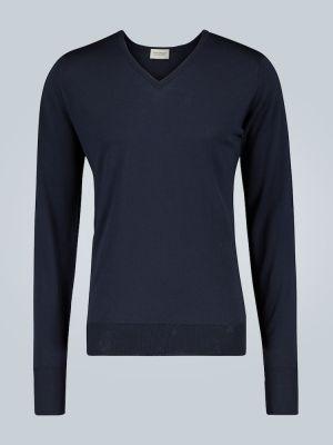 Облегченная шерстяной синий свитер с V-образным вырезом John Smedley