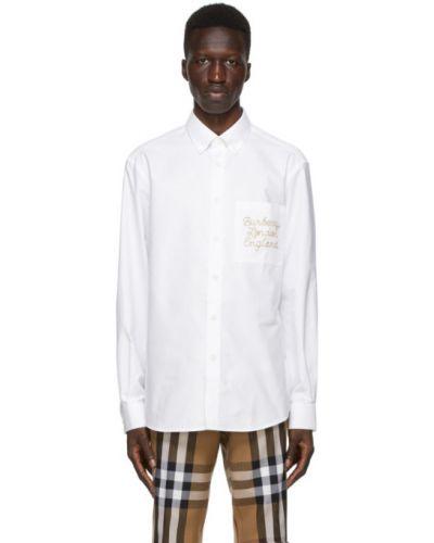 Bawełna z rękawami koszula oxford z haftem z mankietami Burberry