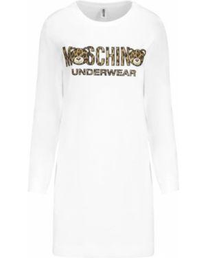 Biała sukienka na co dzień bawełniana Moschino Underwear