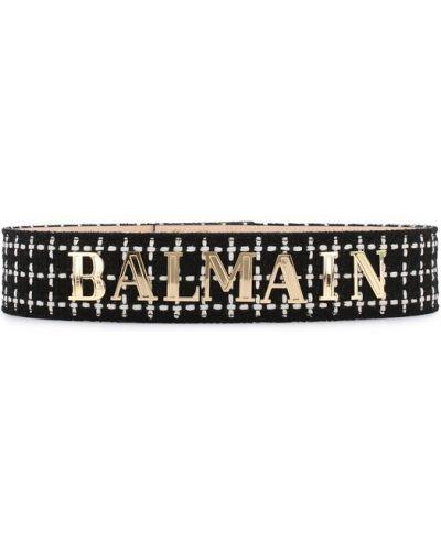 Широкий ремень металлический черный Balmain