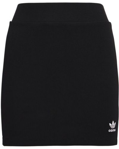 Черная юбка на резинке в полоску с нашивками Adidas Originals