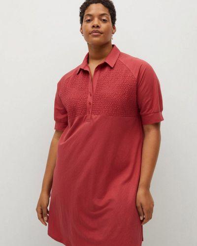 Красное платье-рубашка Violeta By Mango