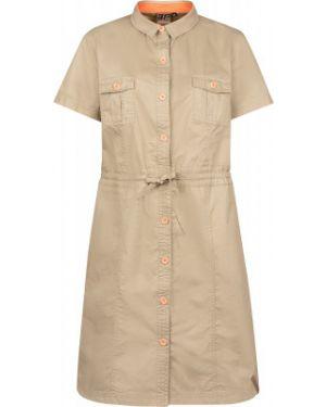 Хлопковое бежевое приталенное платье сафари Icepeak