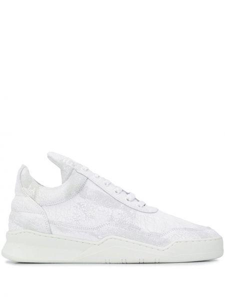 Biały ażurowy skórzany sneakersy przeoczenie Filling Pieces