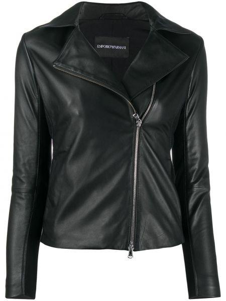 Кожаная куртка на молнии - белая Emporio Armani
