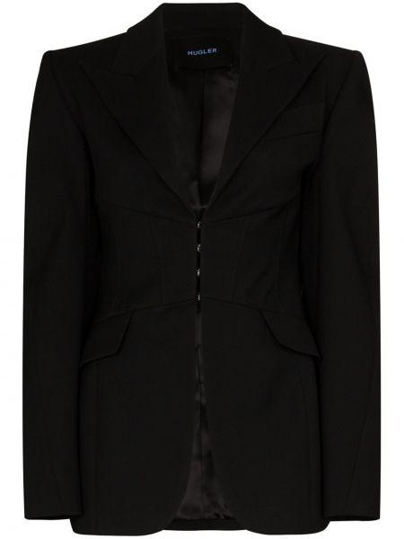 Шерстяной черный приталенный пиджак Mugler