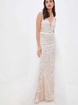 Белое свадебное платье осеннее Soky & Soka