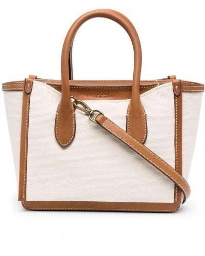 С ремешком коричневая кожаная маленькая сумка Polo Ralph Lauren