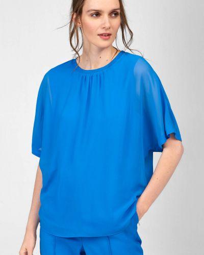 Niebieska bluzka z siateczką z wiskozy Orsay