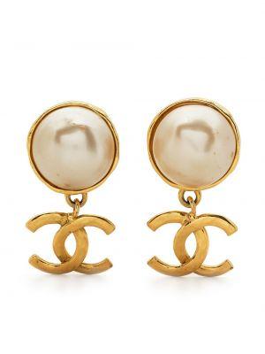 Białe złote kolczyki perełki Chanel Pre-owned