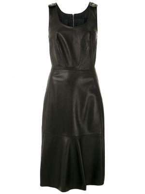 Кожаное черное платье миди без рукавов À La Garçonne