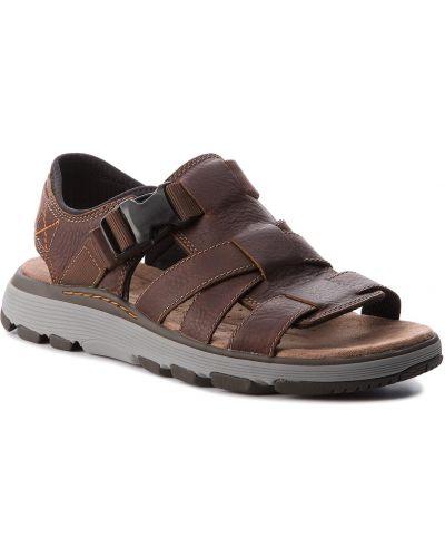Brązowy skórzany skórzany sandały z wkładkami Clarks