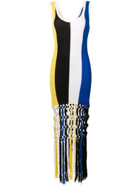 Черное платье макси в полоску с вышивкой Sonia Rykiel