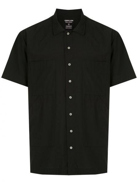 Черная прямая рубашка с короткими рукавами с воротником на пуговицах Osklen