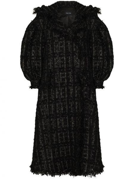 Czarny płaszcz wełniany kopertowy Simone Rocha