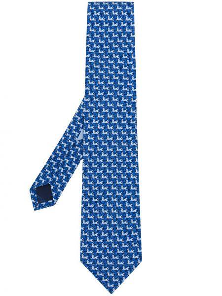 Jedwab niebieski krawat z łatami Salvatore Ferragamo