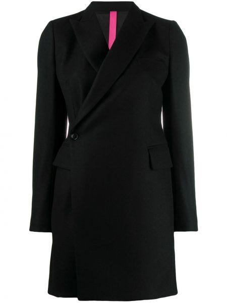 Шерстяное черное длинное пальто Y's