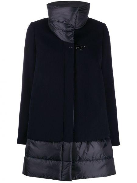 С рукавами синее шерстяное длинное пальто Fay