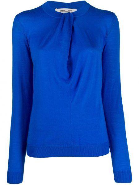 Шерстяной синий вязаный свитер с круглым вырезом Dvf Diane Von Furstenberg