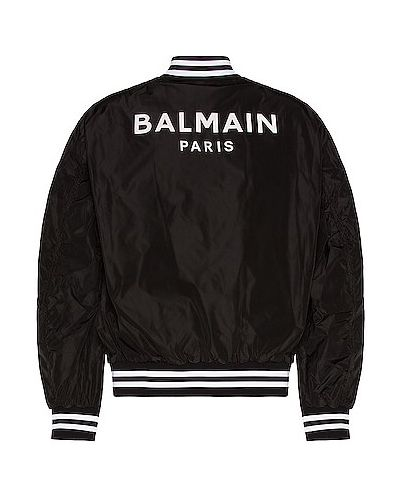 Бомбер с принтом - черная Balmain