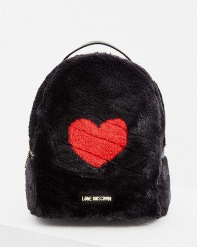 Черный рюкзак с мехом Love Moschino