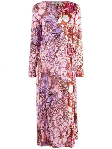 С рукавами шелковое розовое платье с запахом Dvf Diane Von Furstenberg
