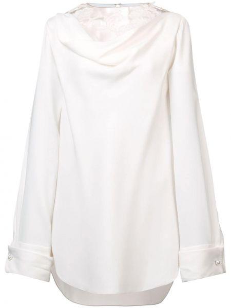 Белая шелковая блузка с вырезом Oscar De La Renta
