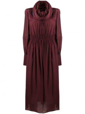 Шелковое красное платье миди в клетку Fendi
