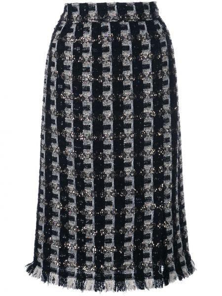 С завышенной талией юбка миди в клетку твидовая Oscar De La Renta