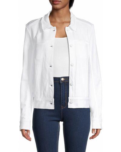 Текстильная белая длинная куртка с заплатками Alala