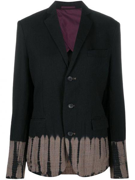 Шерстяной черный удлиненный пиджак на пуговицах Suzusan
