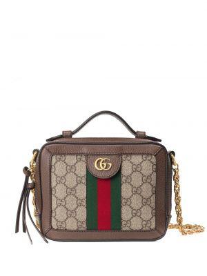 Złota torebka na łańcuszku - brązowa Gucci