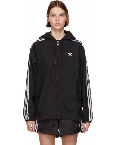 Czarna długa kurtka z kapturem w paski Adidas Originals