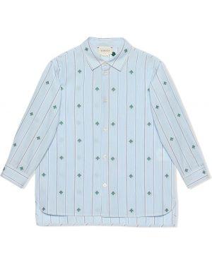 Асимметричная синяя рубашка на пуговицах Gucci Kids