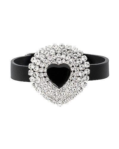 Czarny choker srebrny z kryształkami Alessandra Rich