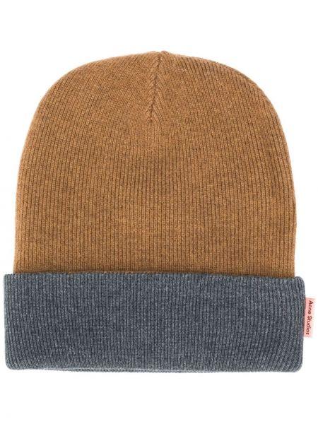 Prążkowana brązowa czapka wełniana Acne Studios