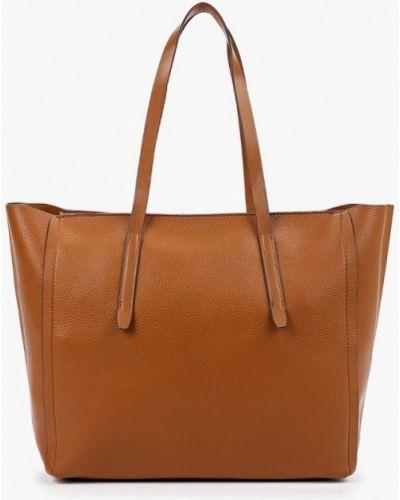 Кожаная сумка шоппер коричневый Mango