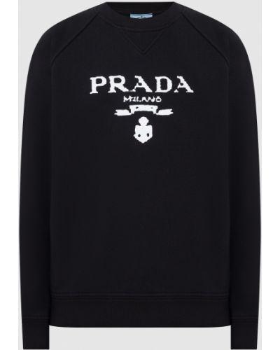 Черная кофта с принтом Prada
