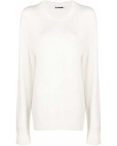 Wełniany sweter z okrągłym dekoltem z długimi rękawami z mankietami Jil Sander