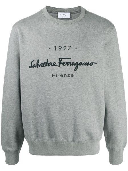 Czarna bluza z haftem z długimi rękawami Salvatore Ferragamo