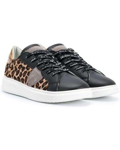 Кожаные черные кроссовки на шнуровке с нашивками Philippe Model Kids