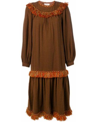 Платье миди с бахромой в стиле бохо Yves Saint Laurent Vintage