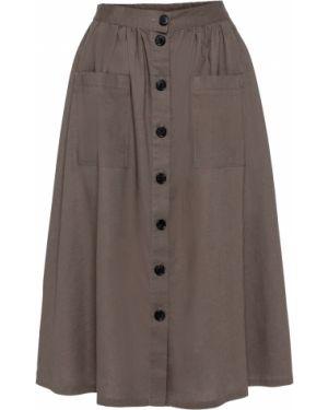 Юбка макси льняная с карманами Bonprix