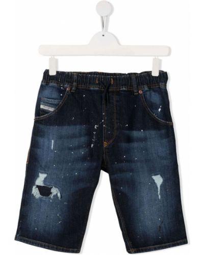 Синие джинсовые шорты с карманами с декоративной отделкой Diesel Kids