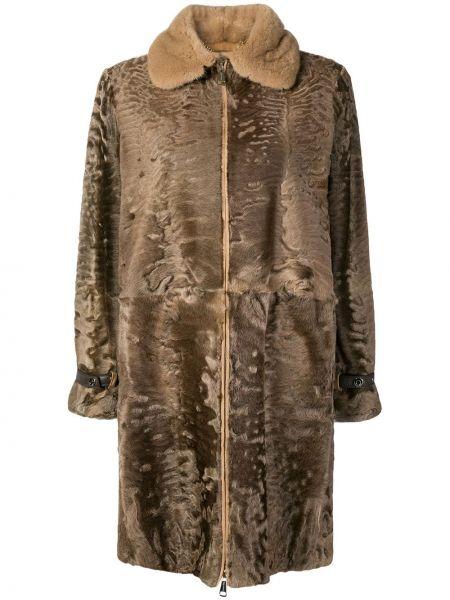 Коричневое пальто из овчины с воротником Manzoni 24