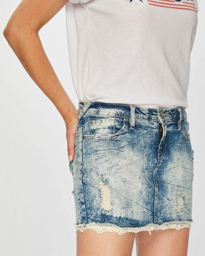 Синяя плиссированная джинсовая юбка с карманами Urban Surface