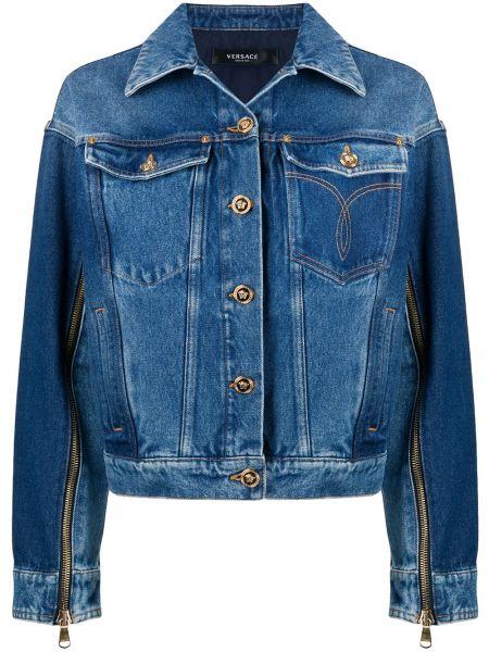 Классическая прямая синяя джинсовая куртка на молнии Versace