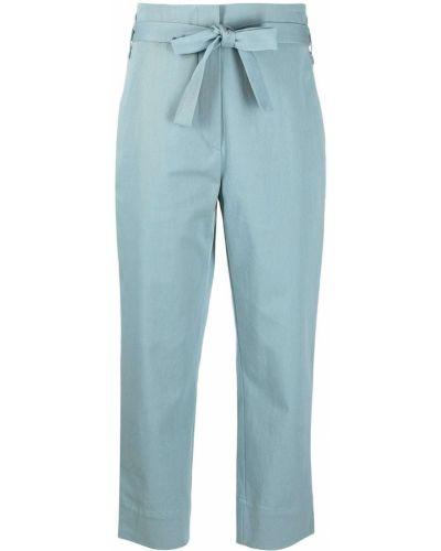 Хлопковые синие укороченные брюки с завязками Odeeh