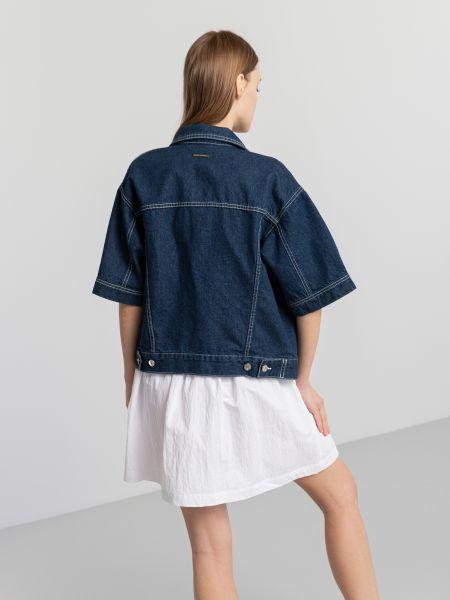 Синяя джинсовая куртка на кнопках металлическая Armani Exchange
